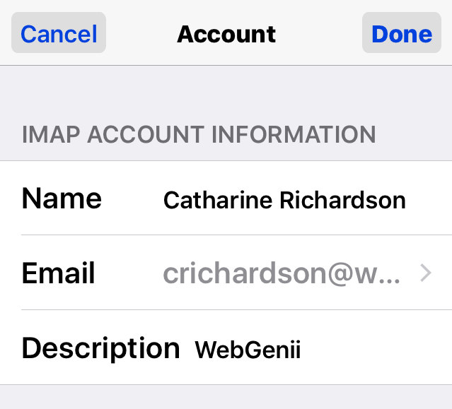 iOS EMail Account Settings