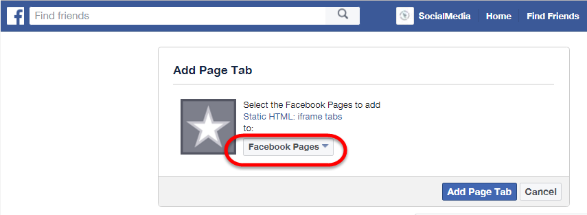 Add Page Tab dialog box